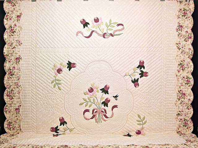King Ivory and Dusty Rose Lancaster Treasures Quilt Photo 2
