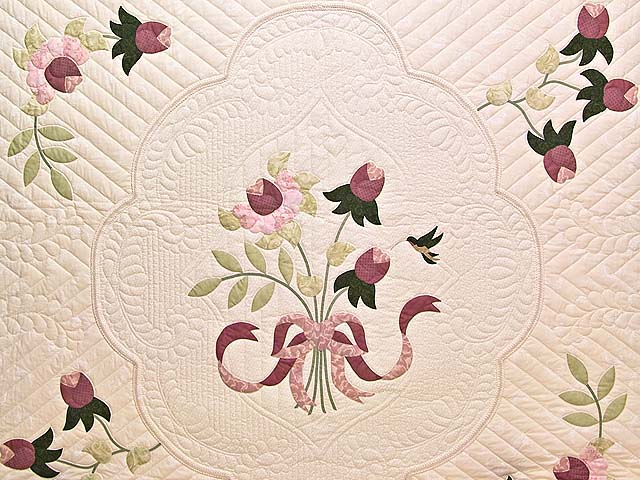 King Ivory and Dusty Rose Lancaster Treasures Quilt Photo 3
