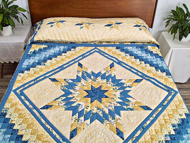 Yellow and Blue Lone Star Trip Quilt Photo 1