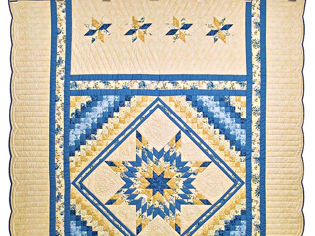 Yellow and Blue Lone Star Trip Quilt Photo 2
