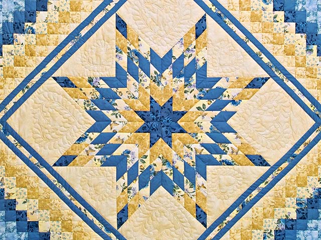 Yellow and Blue Lone Star Trip Quilt Photo 3