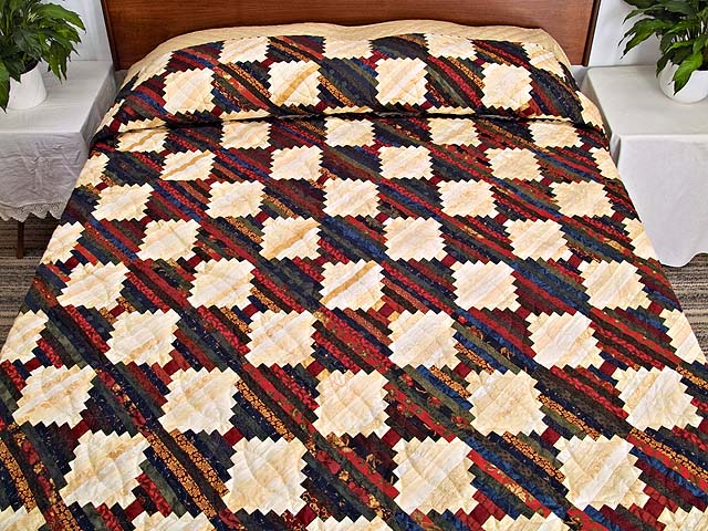 King Tans and Multicolor Log Cabin on the Point Quilt Photo 1