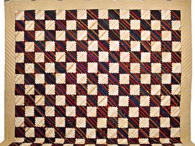 King Tans and Multicolor Log Cabin on the Point Quilt Photo 2