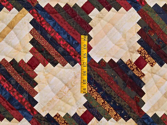 King Tans and Multicolor Log Cabin on the Point Quilt Photo 4