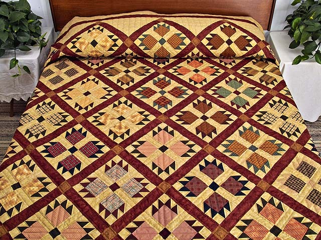 Burgundy Plaids And Tan Bear S Paw Quilt