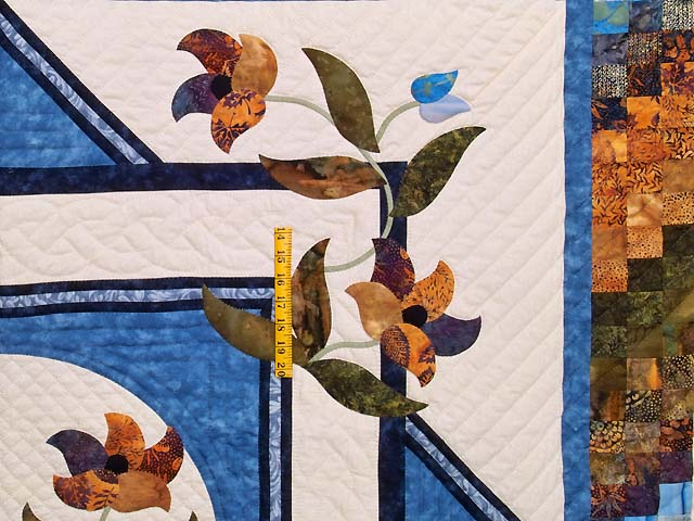 Blue Navy and Gold Rainbow Reflections Quilt Photo 4