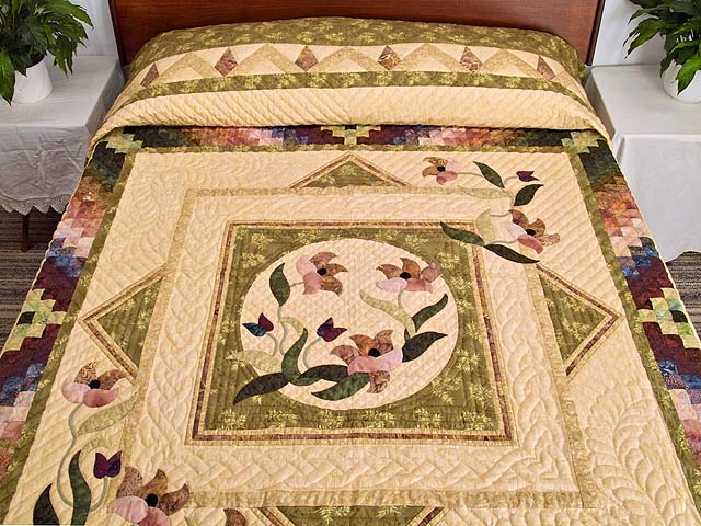 Moss Neutrals and Mauve Rainbow Reflections Quilt Photo 1