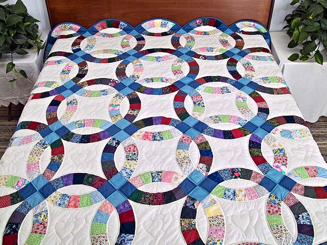 Twin Multicolor Double Wedding Ring Quilt Photo 1