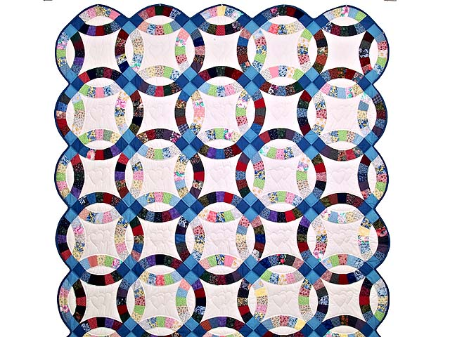 Twin Multicolor Double Wedding Ring Quilt Photo 2