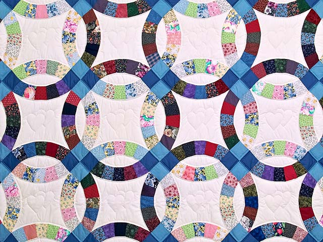 Twin Multicolor Double Wedding Ring Quilt Photo 3