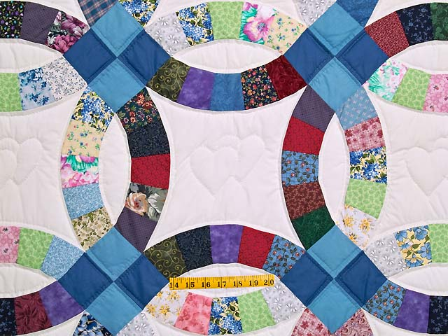 Twin Multicolor Double Wedding Ring Quilt Photo 4