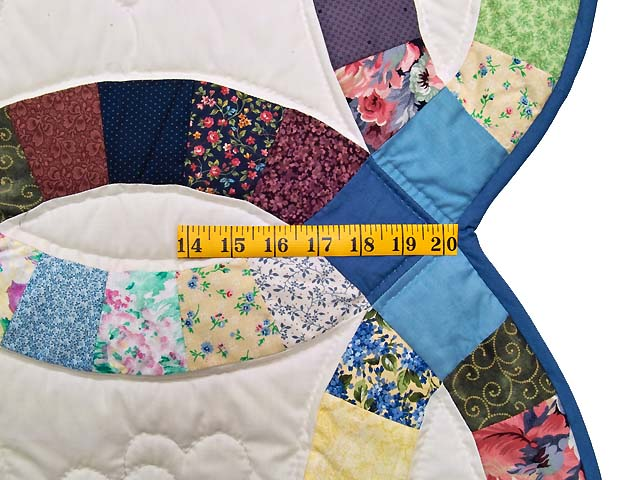 Twin Multicolor Double Wedding Ring Quilt Photo 7