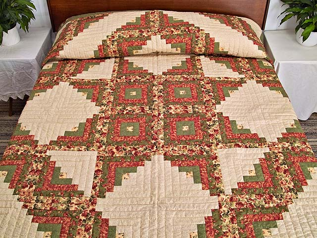 Rose Sage and Golden Tan Log Cabin Star Quilt Photo 1