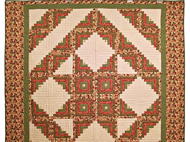 Rose Sage and Golden Tan Log Cabin Star Quilt Photo 2