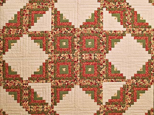 Rose Sage and Golden Tan Log Cabin Star Quilt Photo 3