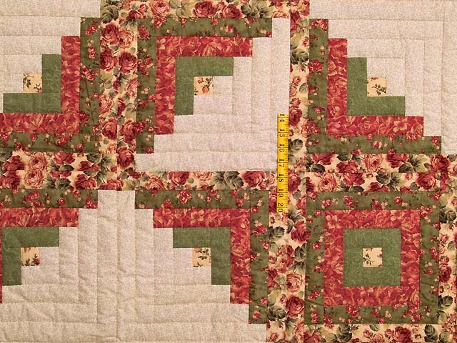 Rose Sage and Golden Tan Log Cabin Star Quilt Photo 4