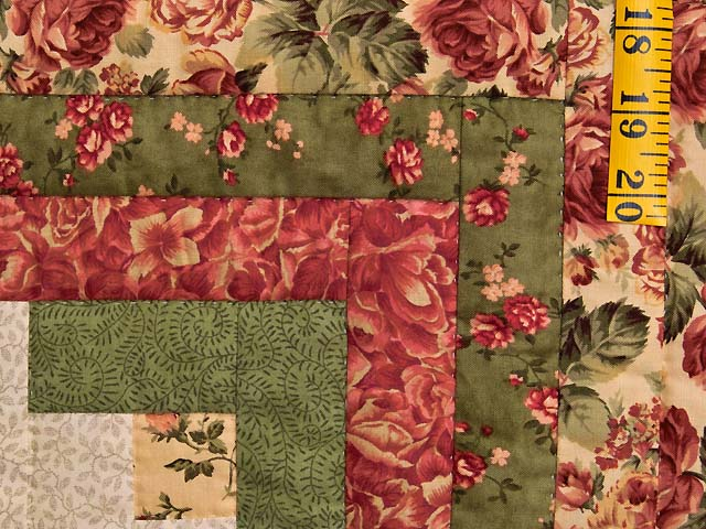 Rose Sage and Golden Tan Log Cabin Star Quilt Photo 5