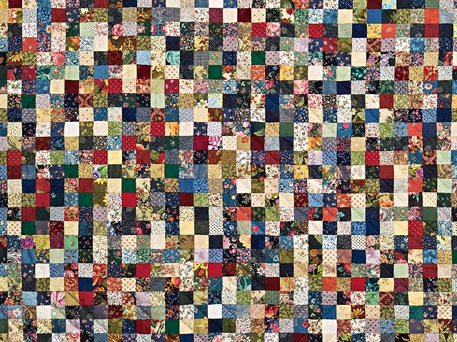 Green Burgundy and Multicolor Postage Stamp Quilt Photo 3