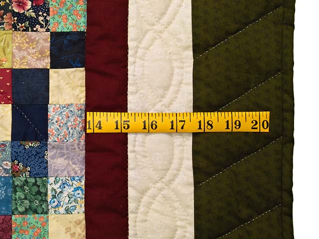 Green Burgundy and Multicolor Postage Stamp Quilt Photo 6