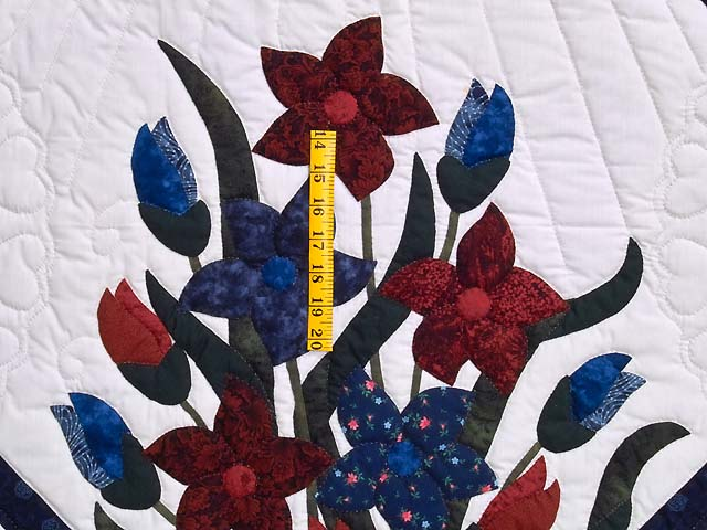 Full Size Blue and Red Appliqué Lilly Quilt Photo 4