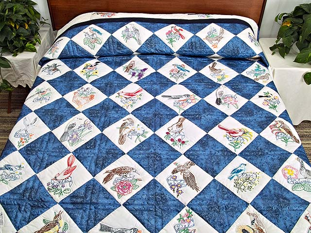 Embroidered State Birds and Flowers Quilt Photo 1