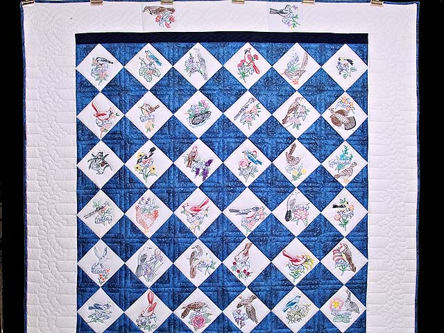Embroidered State Birds and Flowers Quilt Photo 2
