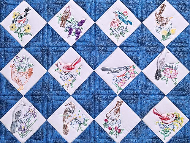 Embroidered State Birds and Flowers Quilt Photo 3