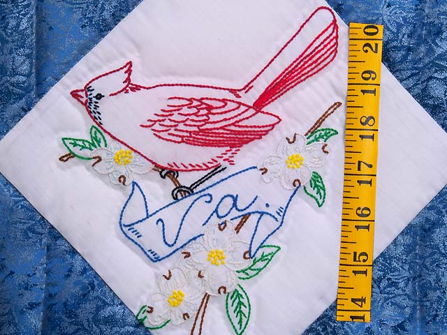 Embroidered State Birds and Flowers Quilt Photo 5