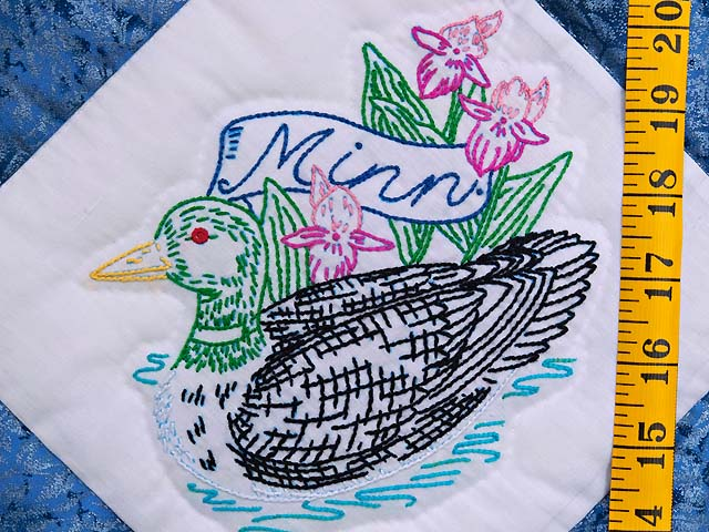 Embroidered State Birds and Flowers Quilt Photo 6