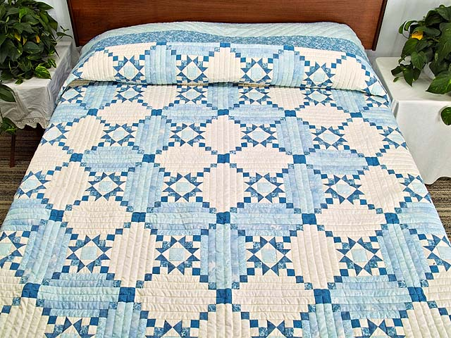 Aqua Blues and Ivory Stars in the Cabin Quilt Photo 1