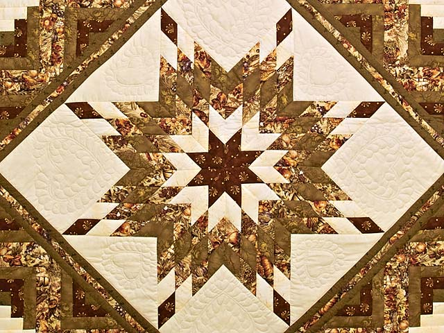 King Moss Burgundy and Cream Lone Star Log Cabin Quilt Photo 3