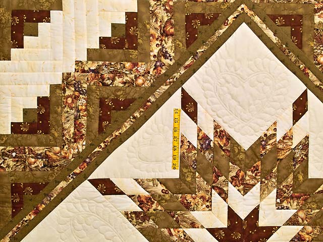 King Moss Burgundy and Cream Lone Star Log Cabin Quilt Photo 4
