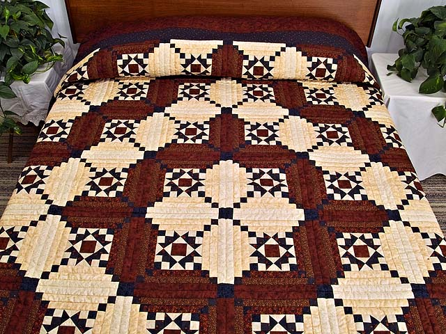 Burgundy Navy and Golden Cream Stars in the Cabin Quilt Photo 1