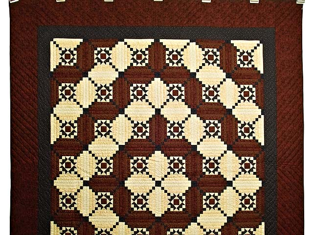 Burgundy Navy and Golden Cream Stars in the Cabin Quilt Photo 2