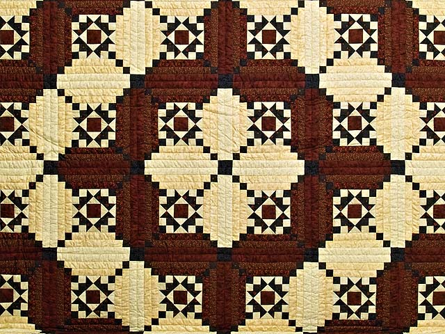 Burgundy Navy and Golden Cream Stars in the Cabin Quilt Photo 3