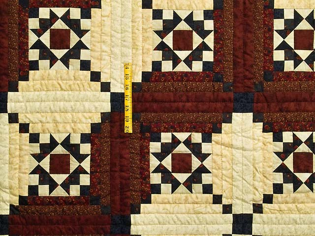 Burgundy Navy and Golden Cream Stars in the Cabin Quilt Photo 4