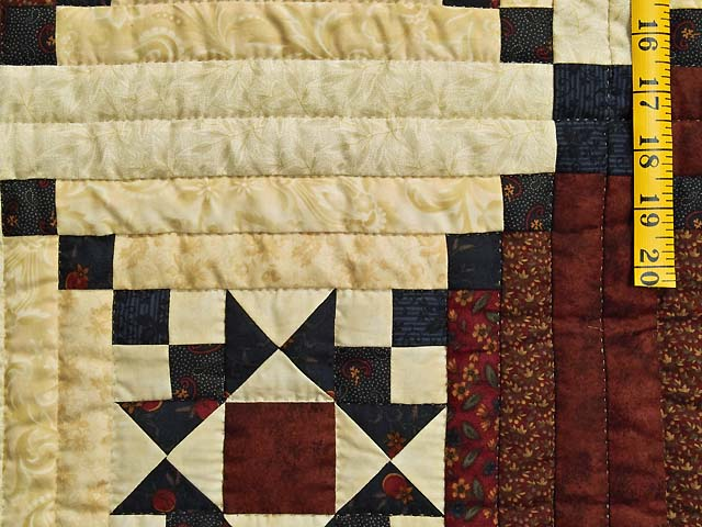 Burgundy Navy and Golden Cream Stars in the Cabin Quilt Photo 5