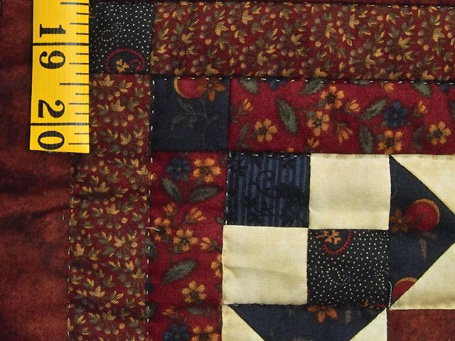 Burgundy Navy and Golden Cream Stars in the Cabin Quilt Photo 6