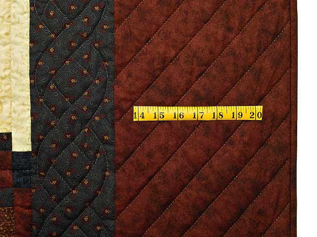 Burgundy Navy and Golden Cream Stars in the Cabin Quilt Photo 7