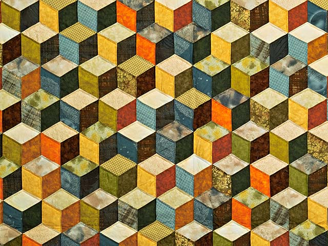 Green and Multicolor Tumbling Blocks Quilt Photo 3