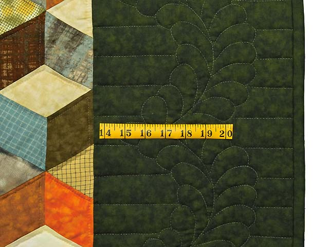 Green and Multicolor Tumbling Blocks Quilt Photo 6
