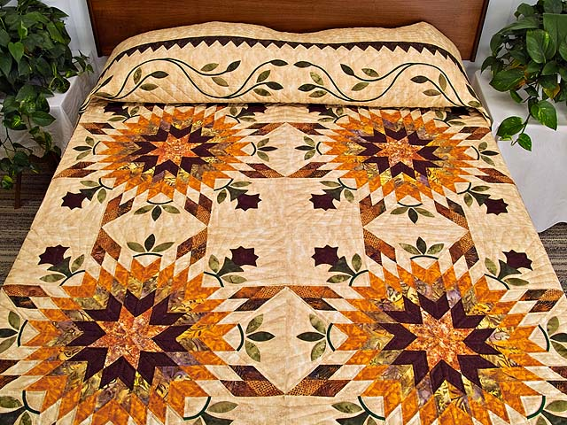 King Gold Brown and Burgundy Starburst Quilt Photo 1