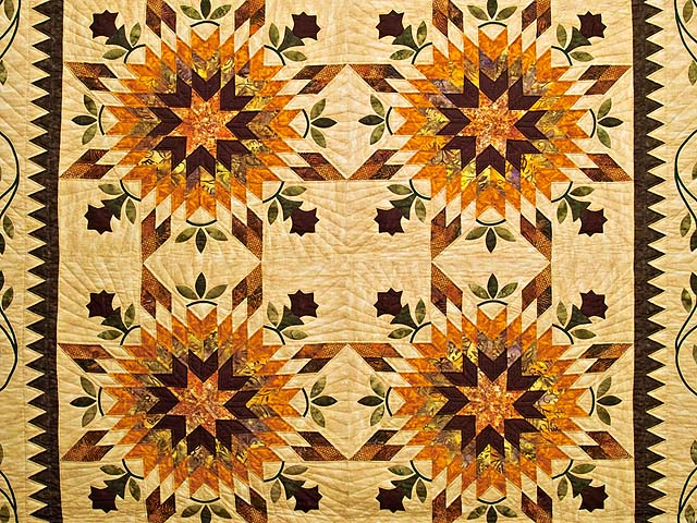 King Gold Brown and Burgundy Starburst Quilt Photo 3