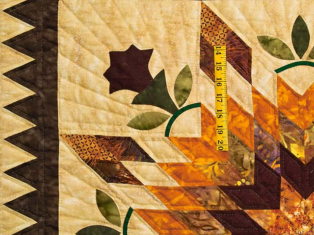 King Gold Brown and Burgundy Starburst Quilt Photo 4
