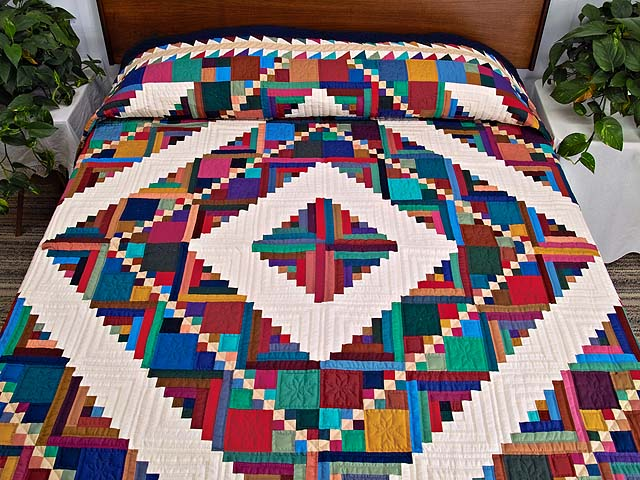 King Bright Home Sweet Home Log Cabin Quilt Photo 1