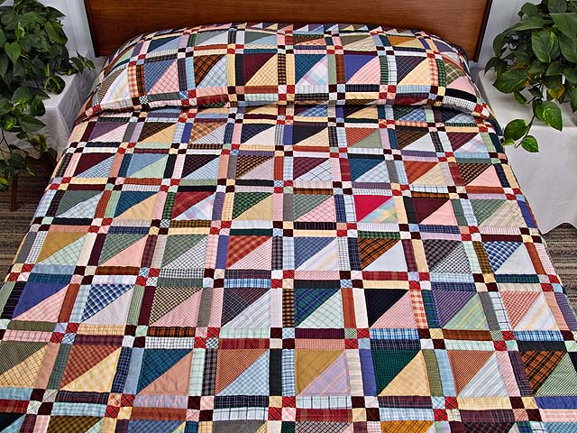 King Plaid Homespun Squares Quilt Photo 1