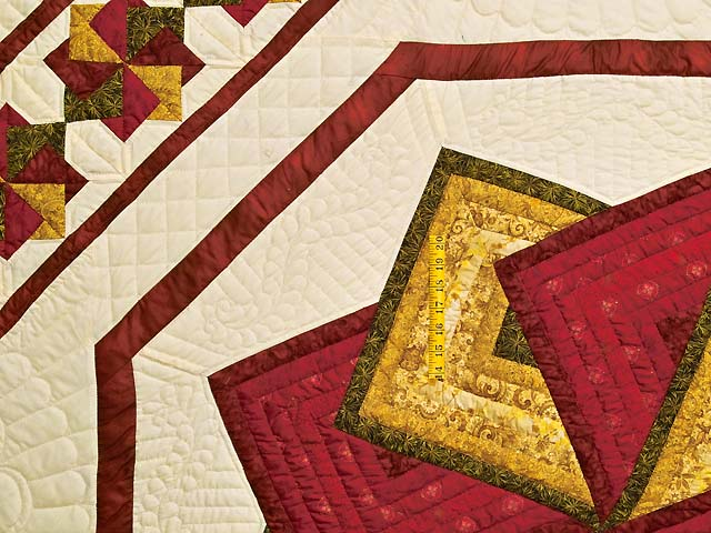 Green Burgundy and Gold Star Spin Quilt Photo 4