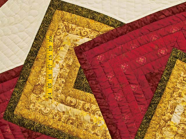Green Burgundy and Gold Star Spin Quilt Photo 5