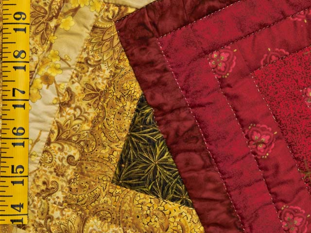 Green Burgundy and Gold Star Spin Quilt Photo 6