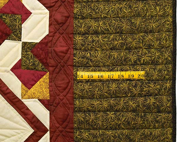 Green Burgundy and Gold Star Spin Quilt Photo 7